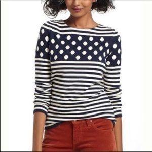 Anthropologie Sparrow Polka Dot Stripe Sweater